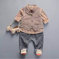 Костюм торжественный для мальчика коричневый верх,серый низ, в клетку 3-ка (рубашка,штаны,жилетка,бабочка)