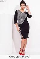 Стильное облегающее платье с контрастной принтованной вставкой декором из пуговиц с 48 по 54 размер, фото 1
