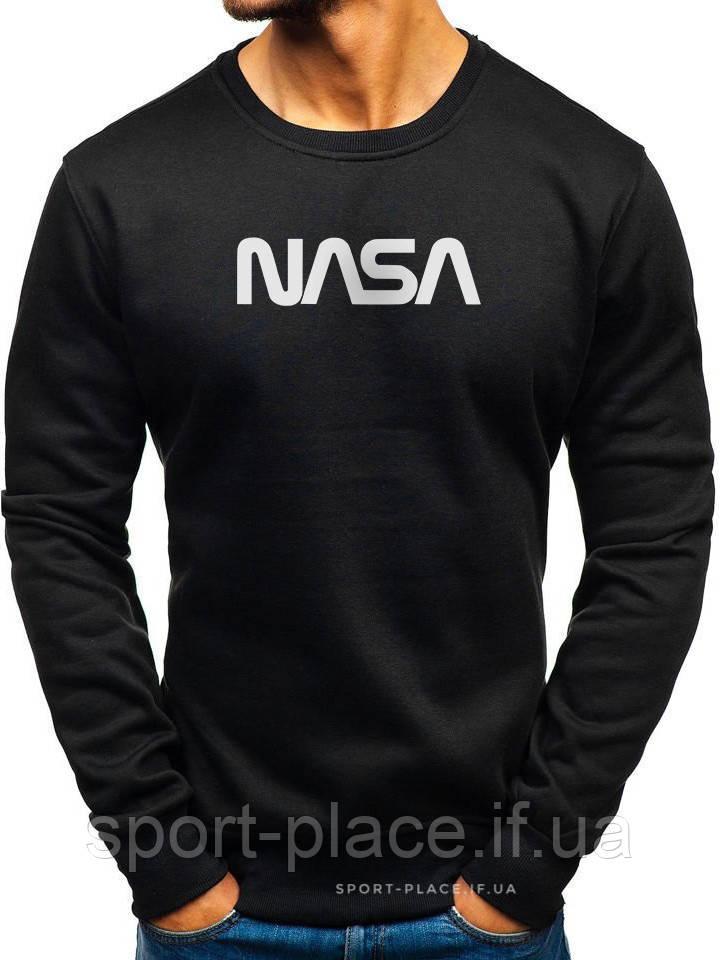 Чоловічий світшот Nasa (Nasa) чорний (велика емблема) толстовка лонгслив (чоловічий світшот)