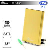 """Внешний карман ProLogix SATA HDD 2.5"""", USB 2.0, Gold (BS-U25F)"""
