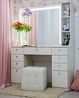 Стол для визажиста с ящиками, гримерным зеркалом с подсветкой и полкой, цвет - белый