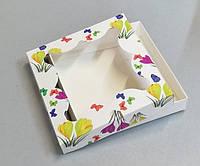 Транспортировочная коробка для пряников 155*155*30 принт цветы