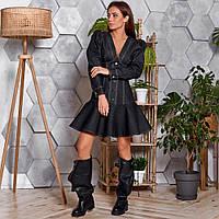Жіноче джинсове сукню з оборкою чорне, фото 1