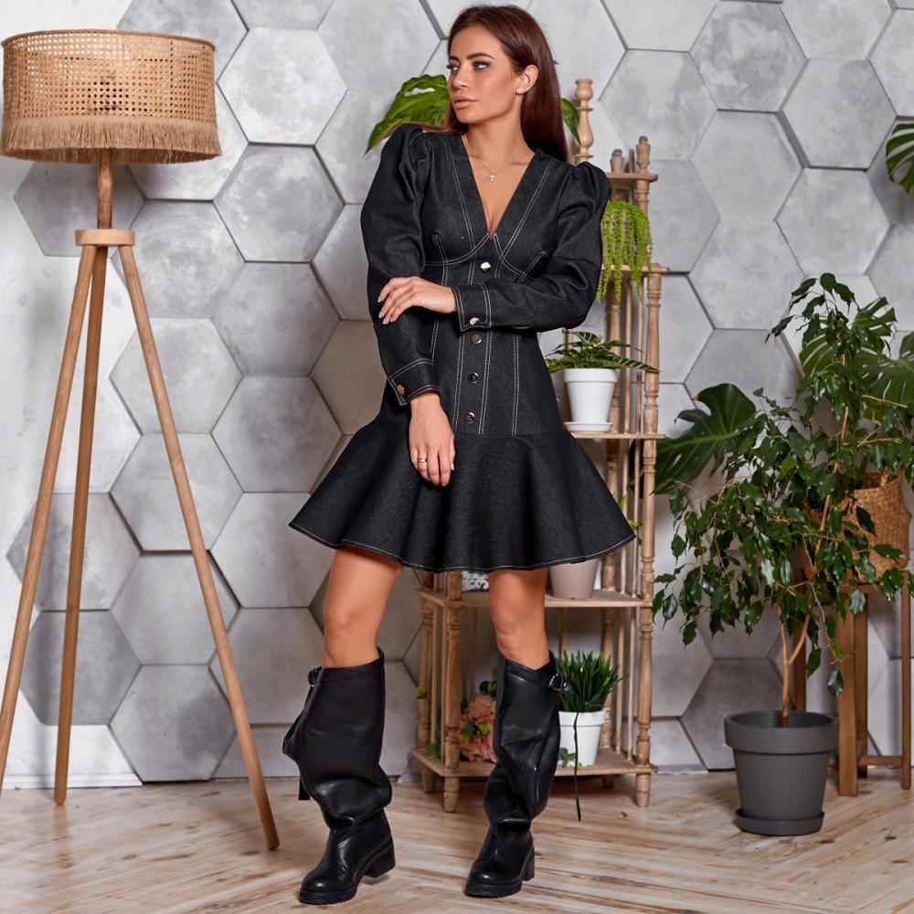 Жіноче джинсове сукню з оборкою чорне