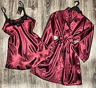 Вишневый атласный комплект тройка халат+ночная сорочка.