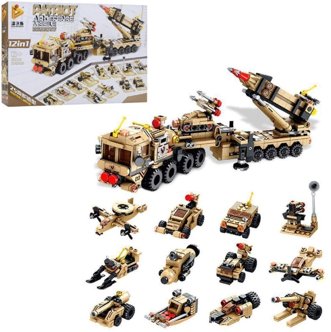 Конструктор 633011 военный транспорт 12 в 1 549 деталей