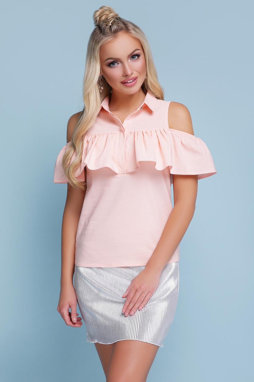Блузка с открытыми плечами персиковая Калелья