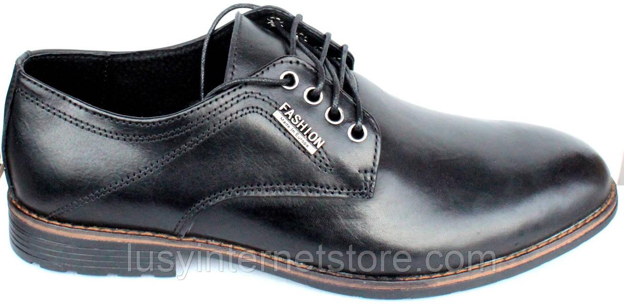 Мужские классические кожаные черные туфли на шнурках от производителя модель ТР100