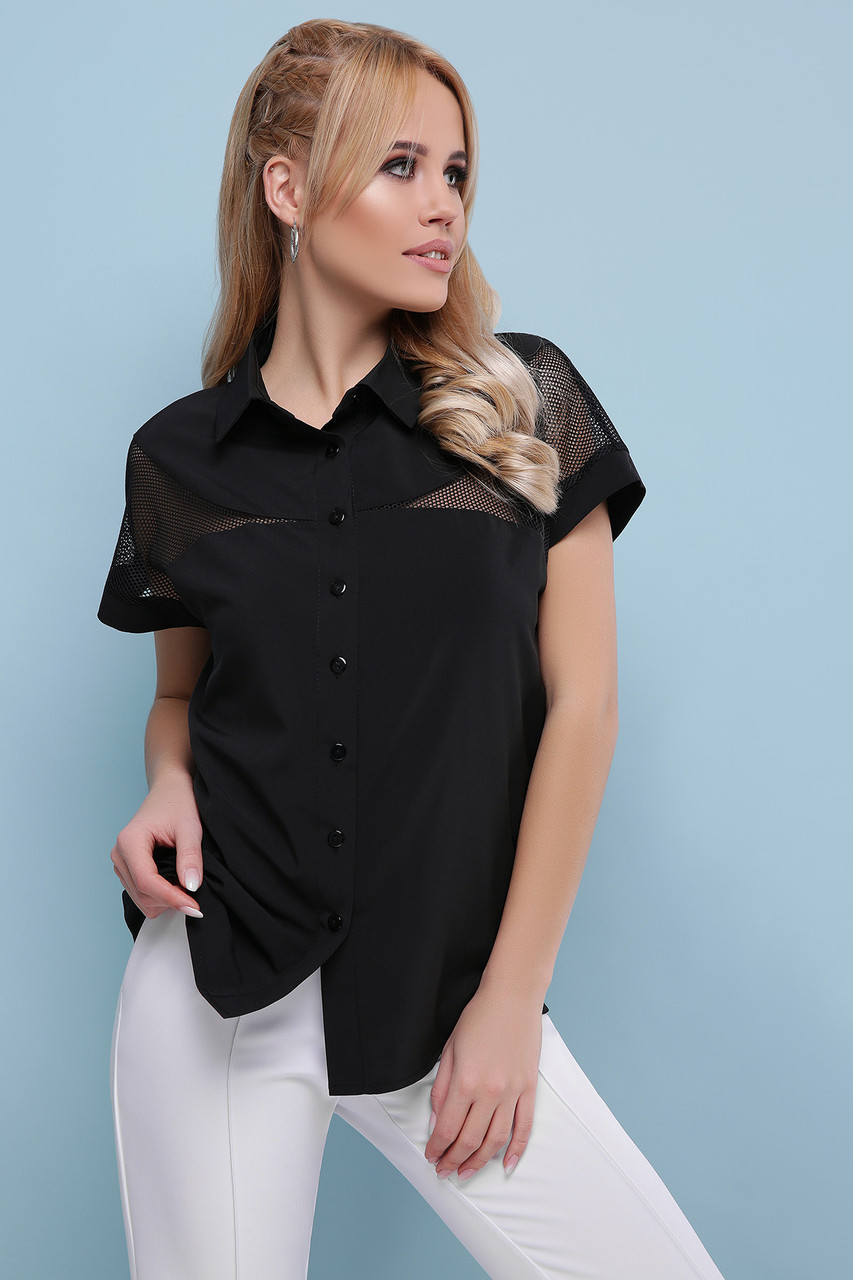 Блуза черная с короткими рукавами Сафо