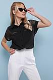 Блуза черная с короткими рукавами Сафо, фото 3