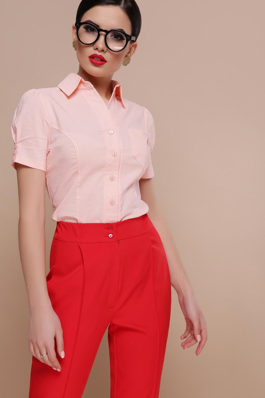 Рубашка женская с короткими рукавами персиковая Эльза