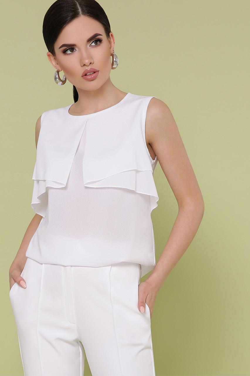 Шифоновая белая блузка без рукавов Юлия
