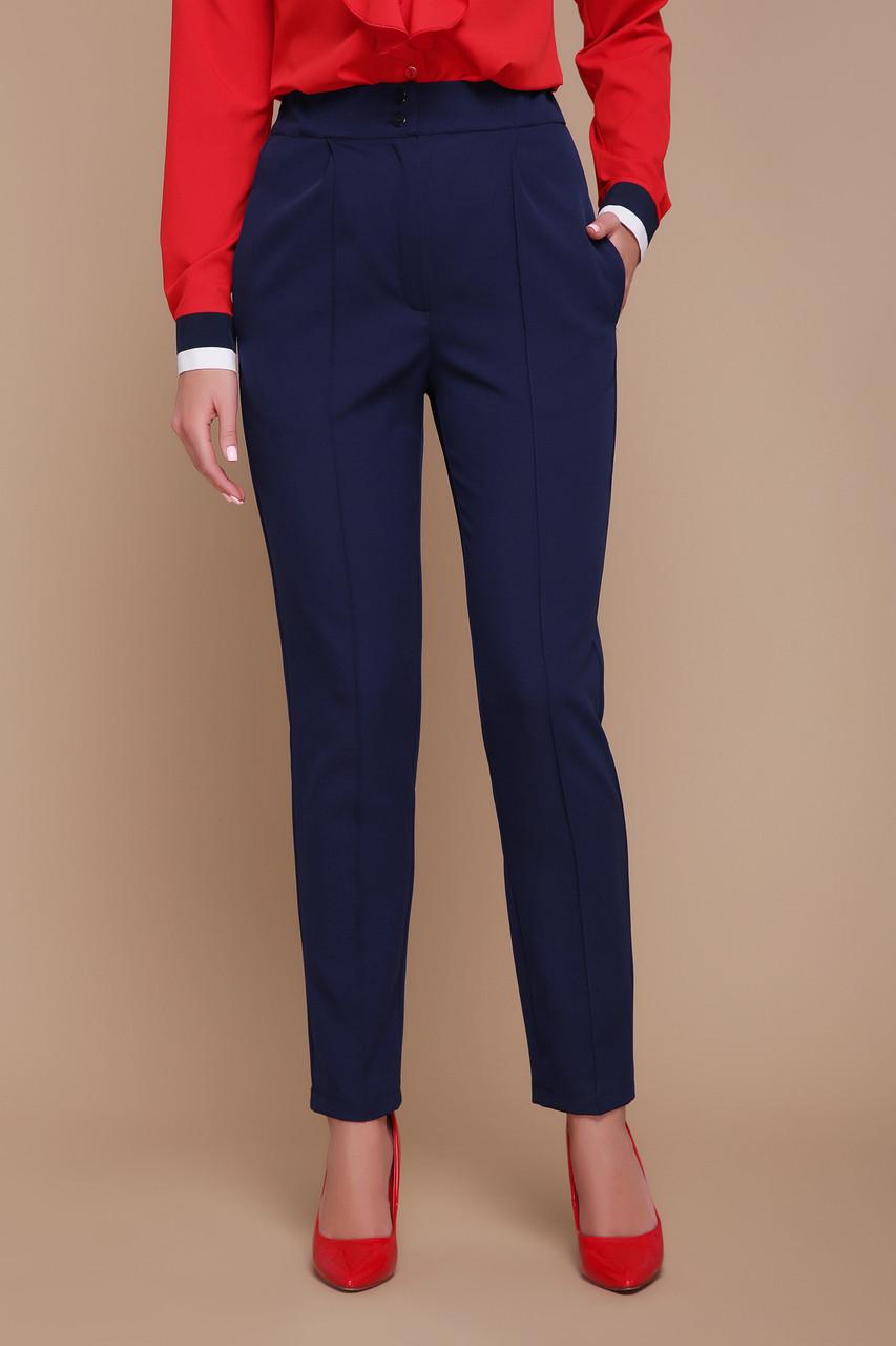 Классические женские брюки с высокой посадкой синие Бенжи