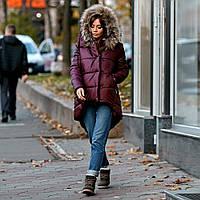 Жіноча куртка парку зимова з натуральним хутром бордо, фото 1