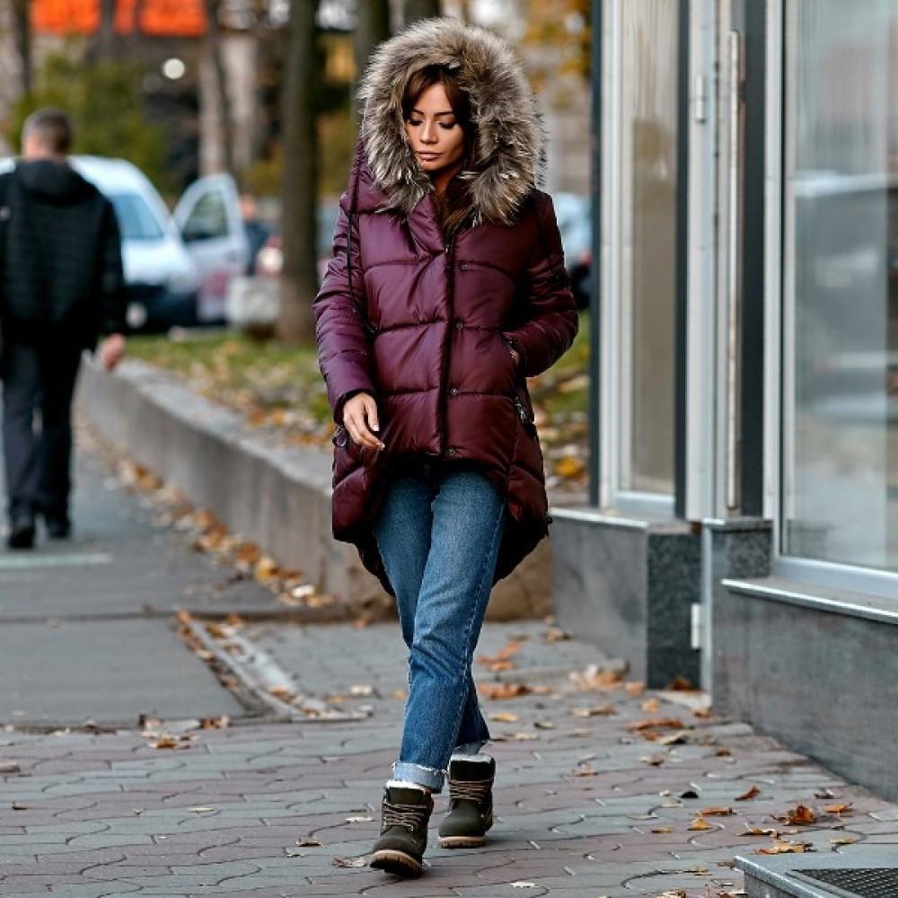 Жіноча куртка парку зимова з натуральним хутром бордо