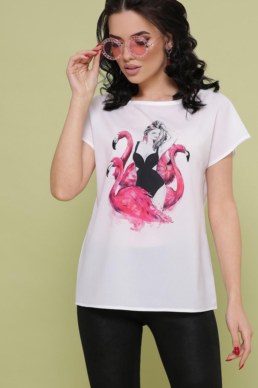 Шифоновая белая блузка с принтом Мира-5