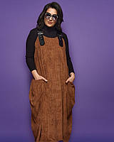 """Женский костюм-двойка """"Naira"""" с гольфом и вельветовым сарафаном (большие размеры)"""
