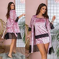 Жіноча  бархатна піжама з халатом з вставками кружева,5 кольорів .Р-ри 42-56