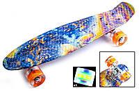 Скейт Пенни борд Penny Board Принт 22 LED - Кислота 54 см