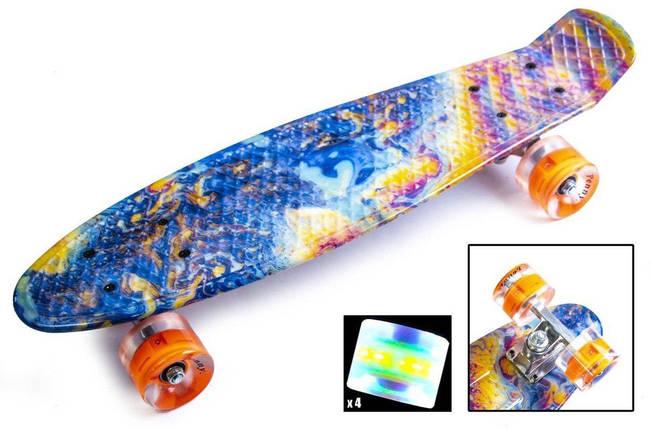 Скейт Пенни борд Penny Board Принт 22 LED - Кислота 54 см, фото 2