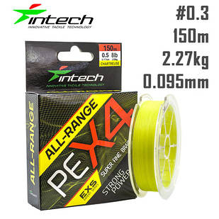 Шнур Intech All-Range PE X4 150m Жёлтый #0.3 (0.09мм) 2.27кг (5lb)