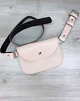 Розовая сумка-клатч 99405 на пояс молодежная мини поясная, фото 1