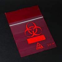 Пакет для транспортировки биоматериалов и с символом «Biohazard», красный