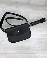 Черная женская сумочка на пояс! Мини-бананка молодежная поясная для мобильного телефона на кнопке 99404