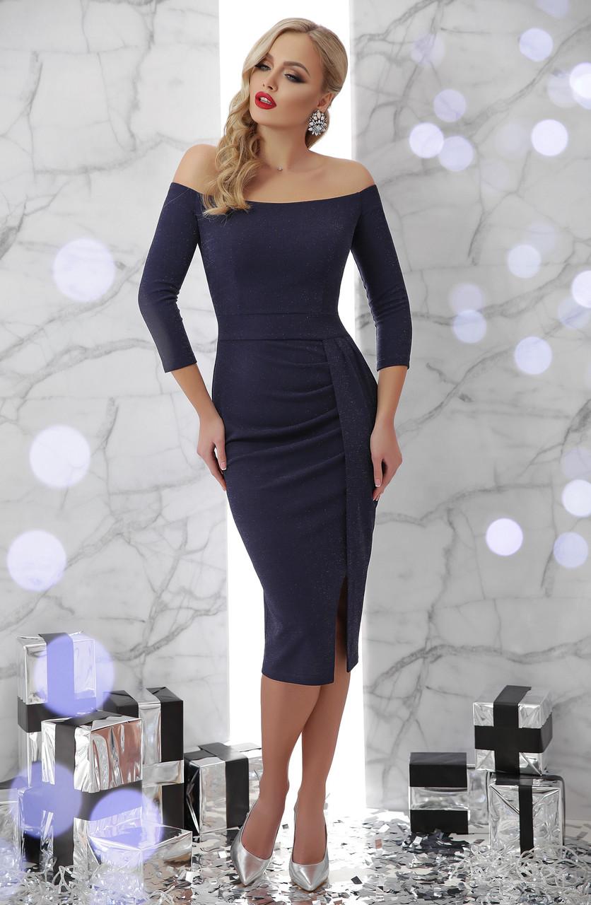 Платье вечернее в открытыми плечами синее Амелия