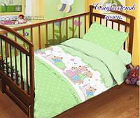 Комплект сменного  постельного белья в кроватку Сладких снов (зеленый)