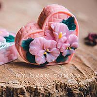 Мыло ручной работы Валентинка сердце фиалки