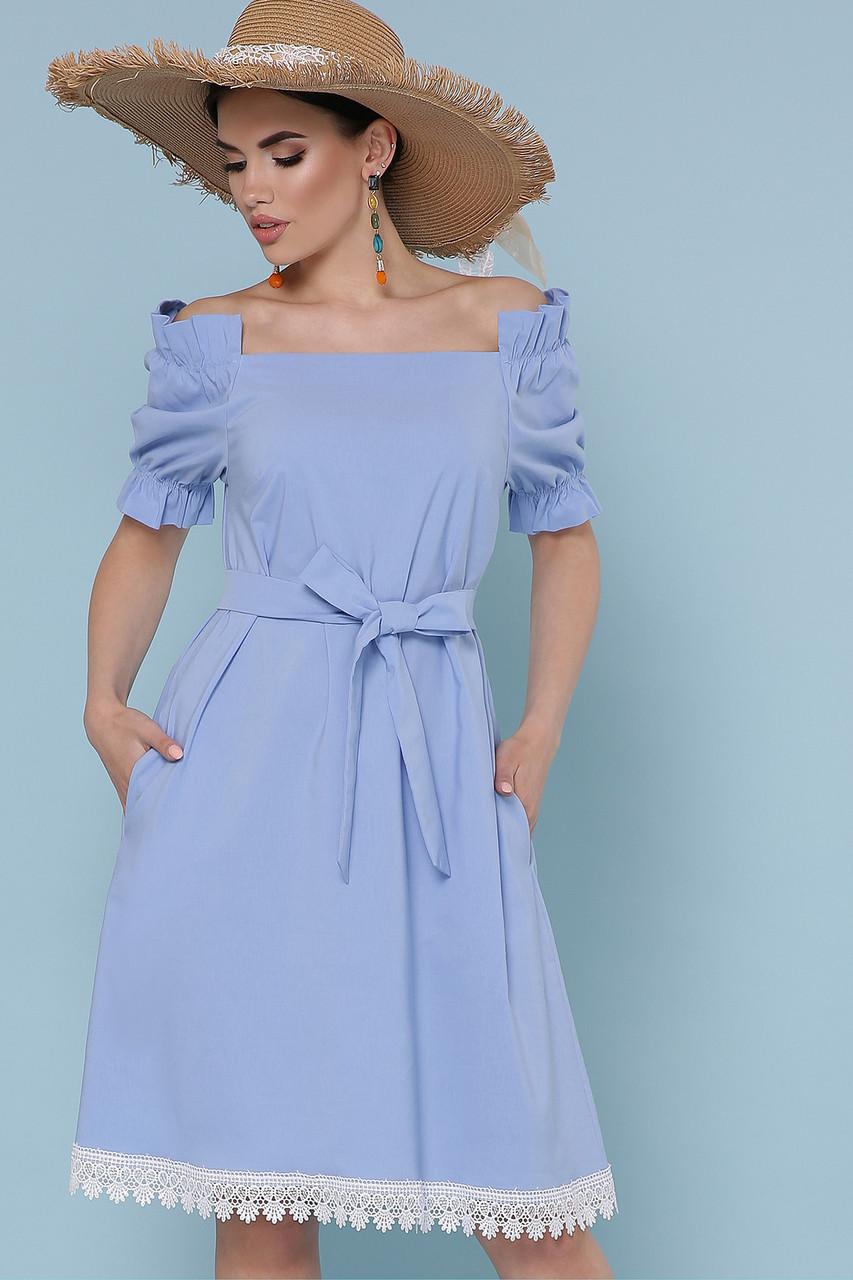 Платье летнее с открытыми плечами голубое Бланка