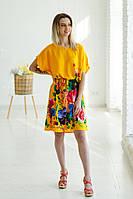 Колоритна жіноча туніка-кімоно жовтого кольору з пояском та яскравим квітковим принтом №012-1