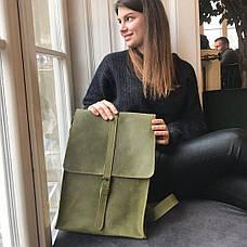 Шкіряний рюкзак «Backy Green» чоловічий зелений (26x35 см) ручної роботи від pan Krepko, фото 3