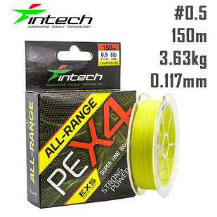 Шнур Intech All-Range PE X4 150m Жёлтый #0.5 (0.117мм) 3.63кг (8lb)