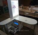 Угловой маникюрный стол с УФ лампой и подсветкой., фото 4