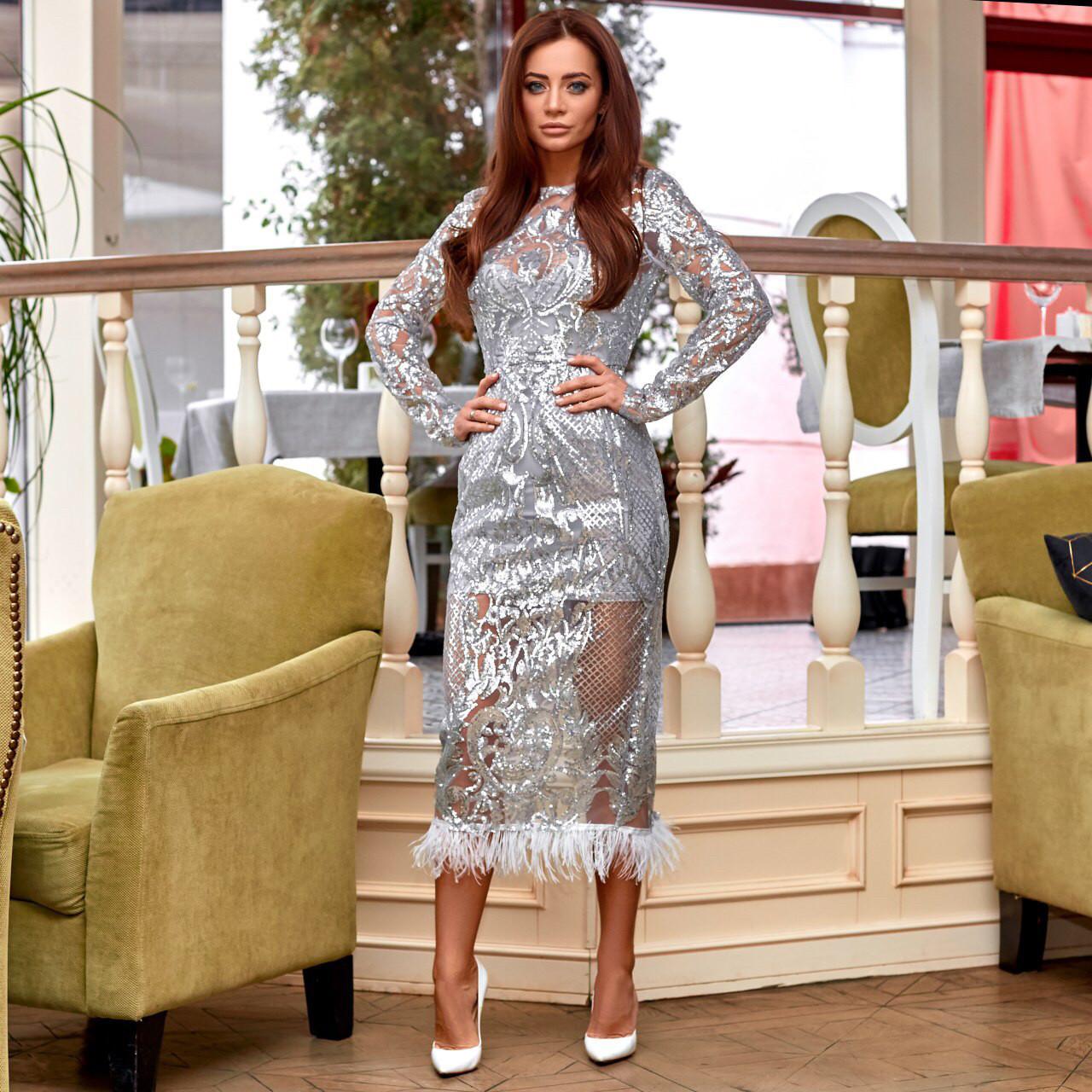 Сукня з пайеток з візерунком срібло