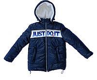 "Зимняя куртка""Nike"" для подростков на меху темно-синего цвета."