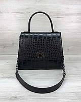 Сумочка женская портфель T5304 маленькая черная с ручкой плечевым ремешком, фото 1