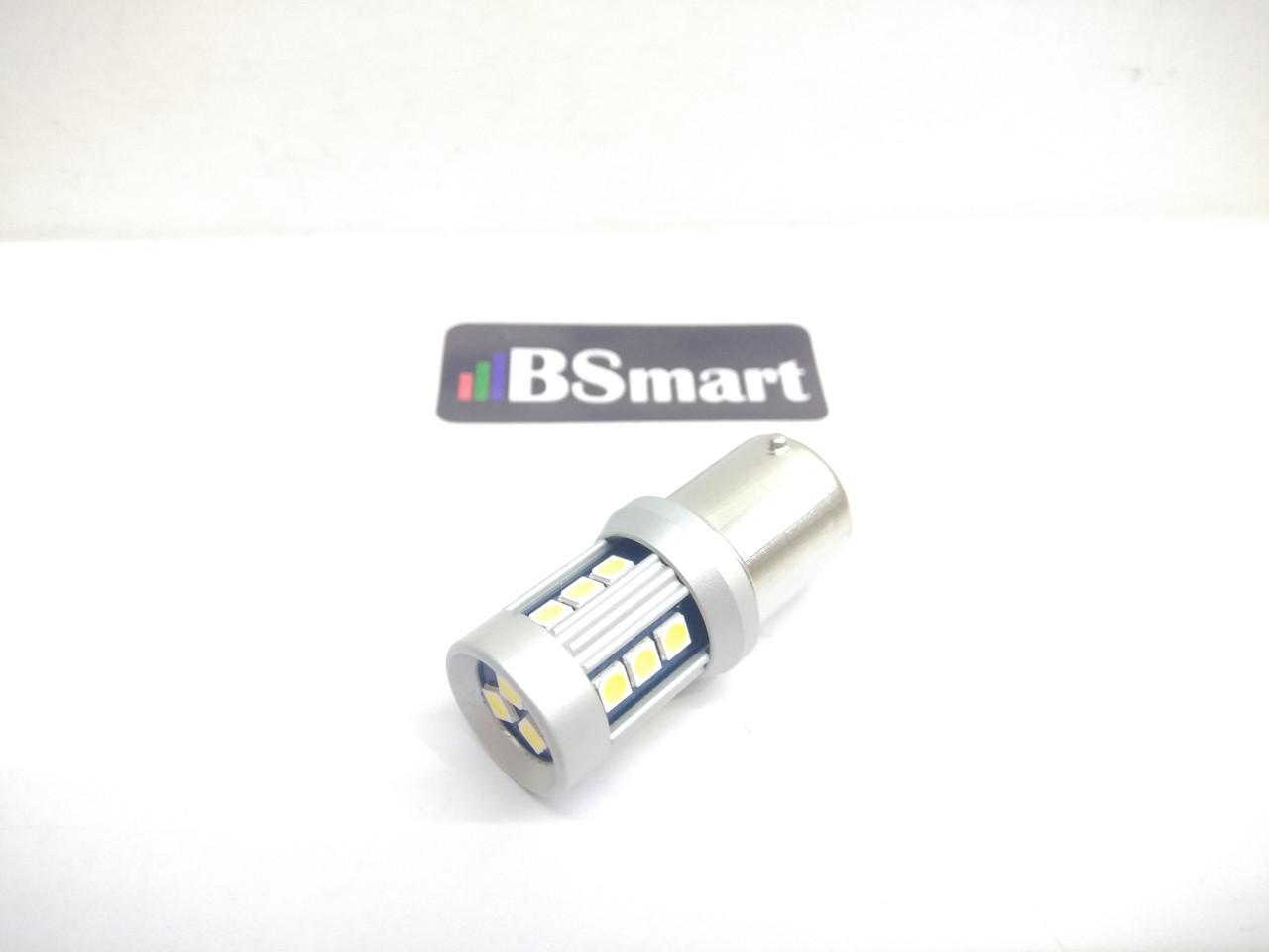Автолампа светодиодная LED, P21W, 1156, BA15S, 15 EPISTAR 3020, 12В, Белая