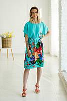 Колоритна жіноча туніка-кімоно бірюзового кольору з пояском та яскравим квітковим принтом №012-2