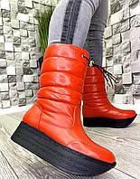 Жіночі шкіряні чоботи дутики зима червоні, фото 1