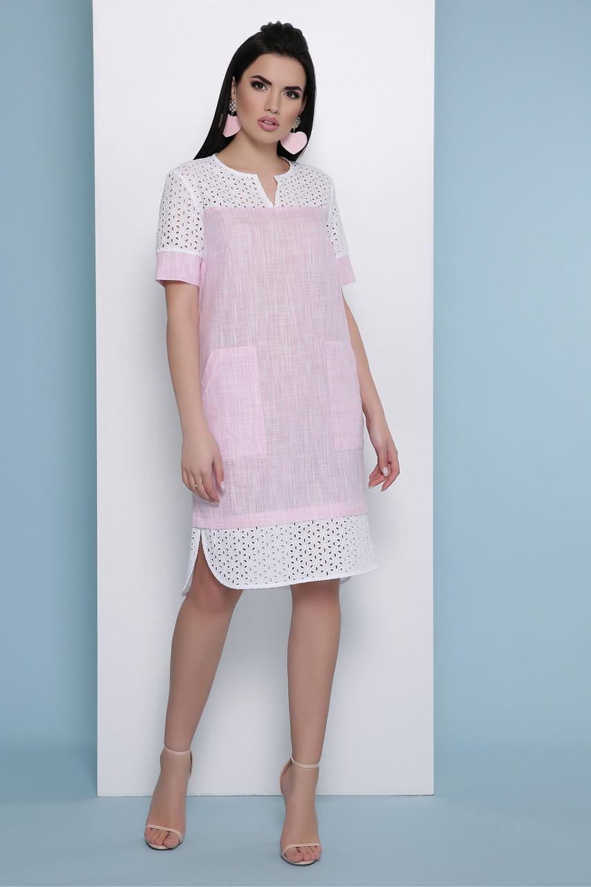 Летнее льняное платье розовое Сати