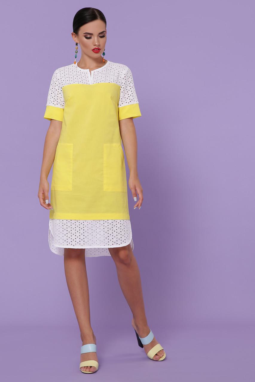 Літній бавовняне плаття жовте Саті-3