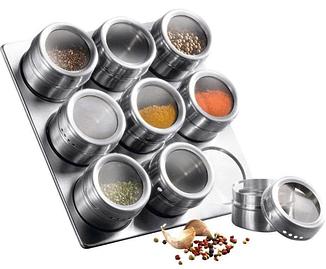 Набор баночек для специй | Набор для специй 9 емкостей на магнитной подставке BN-007