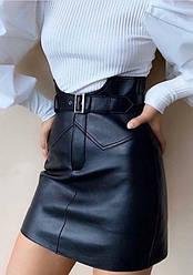 Модная женская короткая кожаная юбка экокожа с поясом на талии