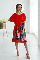 Колоритна жіноча туніка-кімоно червоного кольору з пояском та яскравим квітковим принтом №012-3