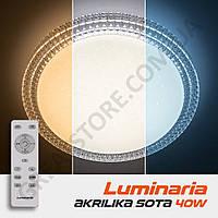 Потолочный светодиодный светильник LUMINARIA AKRILIKA SOTA 40W R-405-CLEAR/SHINY-220-IP20 с пультом ДУ