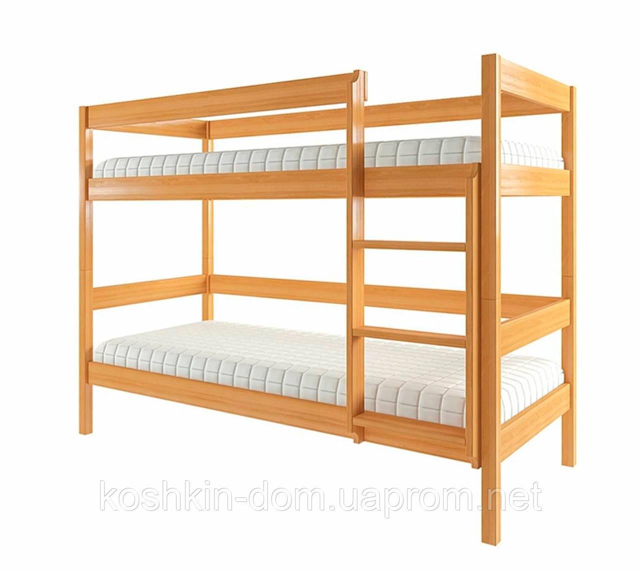 Двох'ярусне ліжко Еко-1 80*190 натуральне дерево