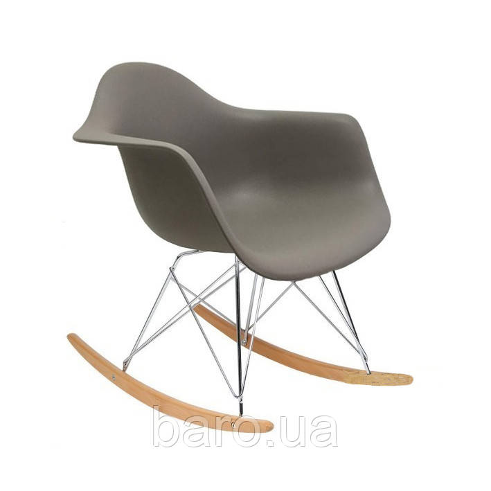 Кресло-качалка Тауэр R, темно-серый пластик, бук (Прайз), Eames